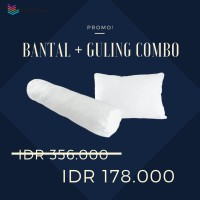 Paket Combo 1 pcs Bantal + 1 pcs Guling Putih Polos (Kualitas Premium)