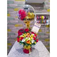 Balon Bunga Plastik Ucapan Artificial Birthday Balloon Ulang Tahun box