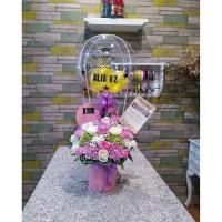 Rangkaian Balon Wisuda Bunga Asli Graduation Fresh Flower Balloon box
