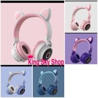 Headset Bluetooth Bando Cat Ear BT028C Headset Led