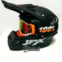 Helm Jpx Cross Trail Trabas Klx Black Dof Solid Kacamata Goggle Bonu