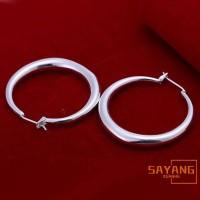 Anting Tusuk Sterling Silver 925 Model Ring Bulat untuk Wanita