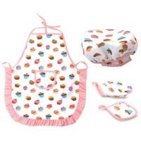 4pcs/set Topi+Celemek+Peralatan Memasak Untuk Anak Perempuan Kecil