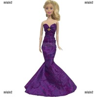 ID Dress Pesta Pernikahan Model Putri Duyung untuk Boneka Barbie