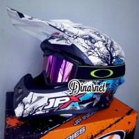 Helm Cross Jpx X14 Srigala Putih Klx Supermoto Kacamata Goggle Hitam