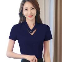 Okechuku Putri Blus tangan pendek leher V Gaya Korea variasi kancing