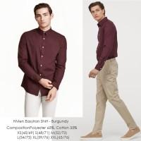 H&M Men Easy Iron Burgundy Shirt - Kemeja Kerja Pria Merah Maroon