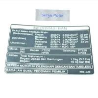 Label Sticker stiker informasi tekanan ban New Vario 125 150 ORI AHM