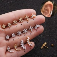 Piercing earring stainless Zircon Tragus Helix 1 - 8