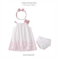 Dress Set Pakaian Bayi Baju Baby Head Band Pink Sakura Putih CLAIRE