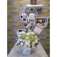 Fresh Flower Birthday Balloon Balon Bunga Asli Ulang Tahun Ballon box