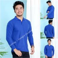 Kaos Polo Panjang Biru / Kaos Kerah Panjang / Poloshirt / Polo Shirt
