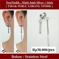 Anting NON Tindik - Multi Jepit Silver + Stick