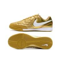 Sepatu Bola Desain Nike Tiempo lies IV IC Warna Emas Putih Bahan