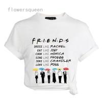 Kaos T-Shirt Lengan Pendek dengan Motif Print Tun Friends TV Show