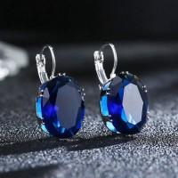 Anting Bulat Sterling Silver 925 dengan Batu Safir Warna Biru untuk