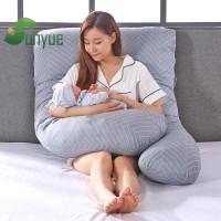 Bantal Kehamilan Bentuk U Motif Garis untuk Ibu Hamil