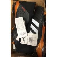 Sepatu Bola Desain Adidas Predator Warna Hitam Orange, Ukuran 39-45