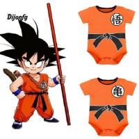 ✲ di Kostum Dragon Ball Goku Bayi Laki-laki Round Neck Bahan