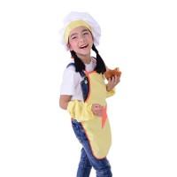 Set Topi Koki + Celemek Masak Warna Pink/Biru/Kuning untuk Anak-anak
