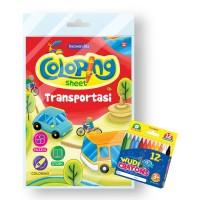 Buku Coloring Sheet Series Transportasi - Free Crayon Wudi 12 Warna