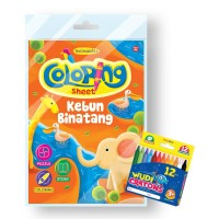 Buku Coloring Sheet Series Kebun Binatang - Free Crayon Wudi 12 Warna