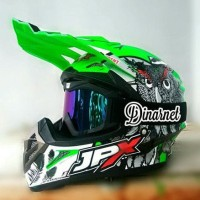 Helm Cross Jpx X13 Green Klx Plus Kacamata Goggle Hitam Pelangi Murah