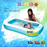 Intex Rectangular Pool Biru Putih. Kolam Renang Karet Anak