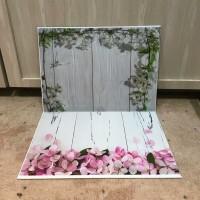 Alas Foto 3D Background Foto 3D A3 motif bunga melati putih dan pink
