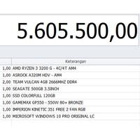 RAKITAN KOMPUTER PC GAMING 01- RYZEN 3 3200G - 8GB - SSD - 500GB 5 jt
