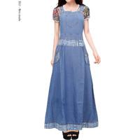Dress Gamis Overall Jeans Jumpsuit Dewasa / Remaja - Biru Muda