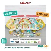 Eco Bamboo Fiber Feeding Kids Set Zoo Edition tempat makan anak cerdas