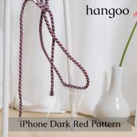 Casing hp iPhone tali warna merah tua bercorak hangoo
