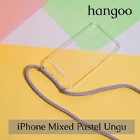 Casing hp iPhone tali mixed pastel ungu hangoo