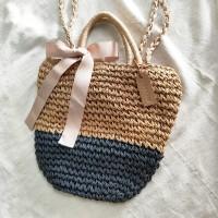 Tas The Straw Bag Anyaman Pantai Korean Style Korea Pita