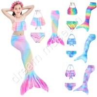 3pcs/set Baju Renang Anak Perempuan 3-12 Tahun Model Ekor Mermaid