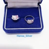 Cincin Perak Anak Asli Silver 925 Lapis Emas Putih Hello Kitty