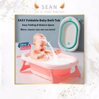 Baby Foldable Bath Tub Bak Mandi lipat Anak Bayi Portable Silicone - Merah Muda