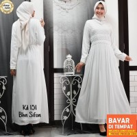 CHIANOZ Gamis Putih Brukat Jumbo Wanita Baju Muslim Lebaran Umroh 151