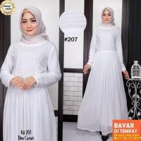 Baju Gamis Putih Lebaran Umroh Haji / Baju Busana Muslim Wanita # 207