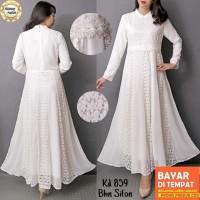 Baju Gamis Putih Lebaran Umroh Haji / Busana Muslim Wanita #859