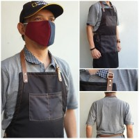 Apron Kece Barista Drill n Synthetic Leather Celemek Chef n Barberman