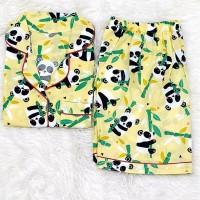 Baju Tidur Cewek/Wanita Piyama/Pajamas Katun Motif Yellow Panda (HP)