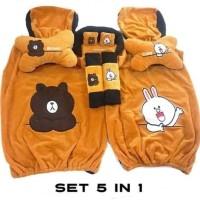 Bantal Mobil Cony & Brown Set 5in1 / Sarung Jok Set 5in1 Cony & Brown