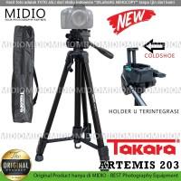 TRIPOD TAKARA Artemis 203Plus HOLDER U Handphone With Fluid Head Vlog