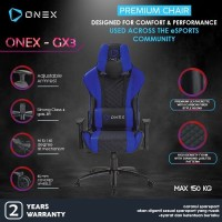 ONEX GX3 Premium Quality Gaming Chair Kursi - Navy Blue