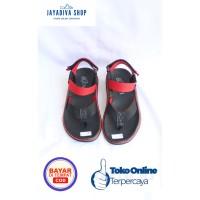 Sandal Kenzi Jepit Fashion Anak Laki-Laki Model Terbaru - Hitam Merah