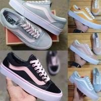 Sepatu Wanita Vans Oldskool Peach Grey Pink Black Yellow Tosca Green