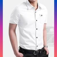 baju kemeja pria lengan pendek hem cowo kerja casual kantor putih