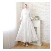Dress Wanita Muslim | Baju Gamis Wanita | Gamis Standard |Brukat Putih